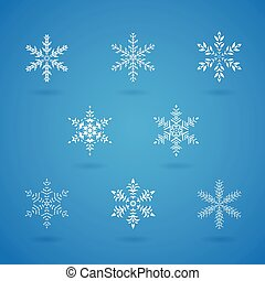 Snowflakes Crystals - Vector Illustration of Snowflakes...