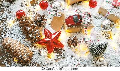 Christmas and New year background with toy car present with...