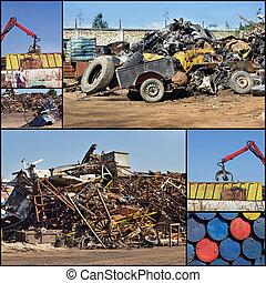 Metal junkyard collage - Collage of images from scrap metal...