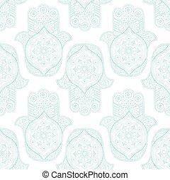 Seamless pattern with Indian hamsa - White seamless pattern...