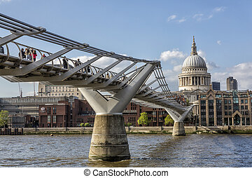 Millennium Bridge - London, United Kingdom - May 14, 2016:...