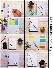 School and office supplies collage - Collage of school and...