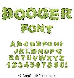 Booger font. Slippery lettering. Snivel alphabet. Green...