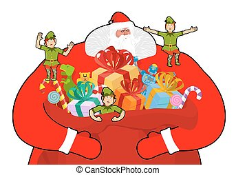 Snots-75.eps - Santa Claus with big sack of gifts. Christmas...