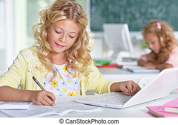 beautiful little girls at class - Portrait of two beautiful...