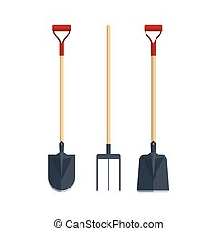 Set pitchfork shovel spade flat tool icon logo vector illustration. Farming equipment. Garden instruments isolated on white background.