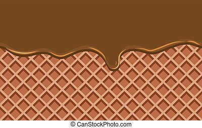 Cream Melted on Chocolate Wafer Background : Vector...