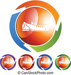 Bowling Shoe - Bowling shoe icon button symbol isolated on a...
