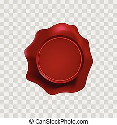 red wax stamp with blank space for text on the transparent...