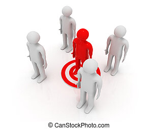 Red man on target. Business leadership success concept.