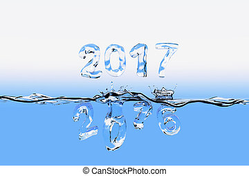 End of year 2016 splash - Watersurface with the numbers of...
