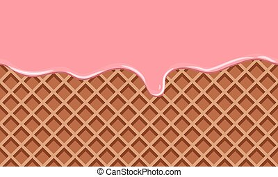 Cream Melted on Chocolate Wafer Background. Flat color style...