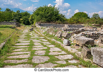 Road. Archaeological Park of Dion, Greece - Ruins and old...