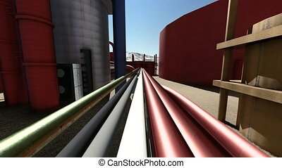 oil and gas industry facilities in animation