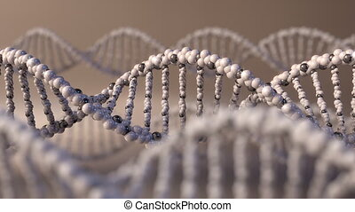 Multiple spinning DNA molecules. Genetic disease, modern...
