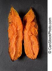 roasted sweet potato - high-angle shot of a roasted sweet...