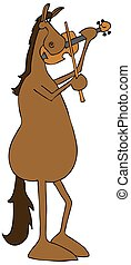 Horse playing a violin - Illustration of a red horse playing...