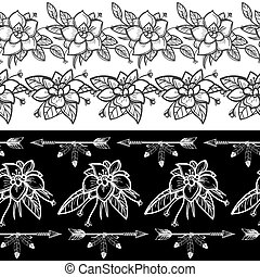 Flowers and feather arrows seamless borders
