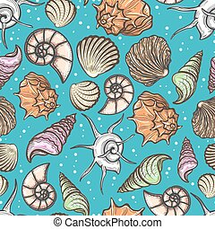 Ocean seamless pattern with colorful seashells vector...