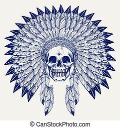 Ball pen sketch skull in headdress - Ball pen sketch skull...