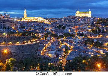 Toledo, Castilla La Mancha, Spain - Old city of Toledo with...