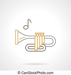 Brass wind instrument flat line vector icon - Symbol of...