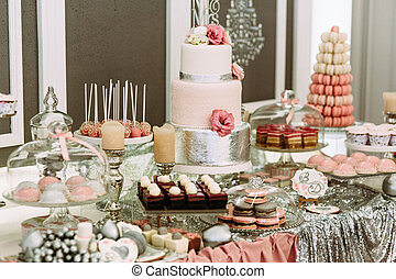 Colorful table with sweets for the wedding