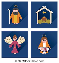 Concept of flat icons with long shadow Christmas night