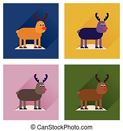 Concept of flat icons with long shadow Christmas deer