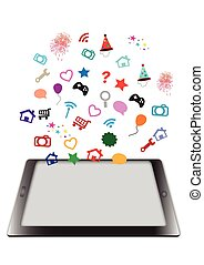 tablet and various icon on white
