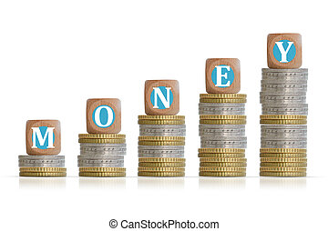 Make money concept with coins ladder and wooden cubes