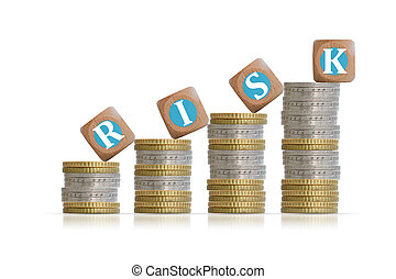 Investment risk concept with coins or money ladder