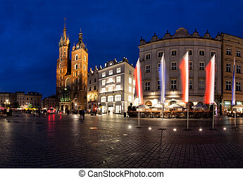 Krakow old town main market square at night