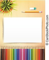 Top view of stationary blank paper and color pencil with copy space on wooden background vector illustration