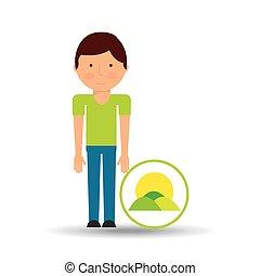 boy cartoon save earth icon