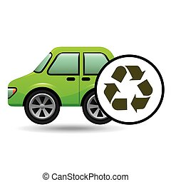 eco car icon environment recycle symbol vector illustration...