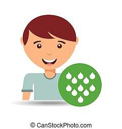 cute boy eco water drop icon