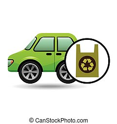 eco car icon environment plastic bag vector illustration eps...