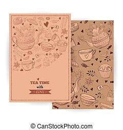 Tea time cards - Tea Branding Design. Tea, sweets doodle...