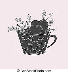Cup love lettering