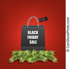 Sale Shopping Bag with Fir Twigs for Black Friday Sales