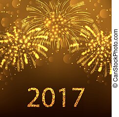 Happy New Year Fireworks 2017, Holiday Background Design -...