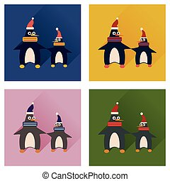 Set of flat icons with long shadow pair penguins