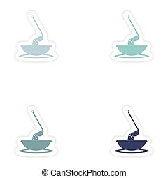 Set of paper stickers on white background dish soup - Set of...