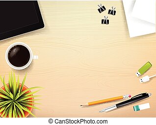Top view of stationary pen pencil eraser tablet paper clip coffee cup with copy space on wooden background vector illustration eps 10 002