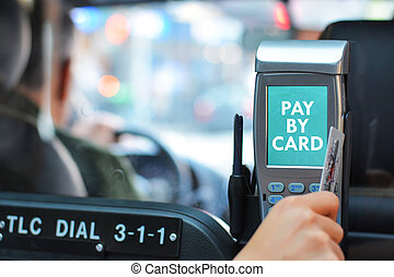 Pay taxi ride by card