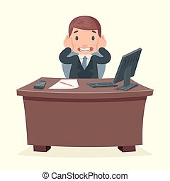 Problems disaster shock businessman character work office...