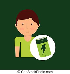 environment icon boy with green battery vector illustration...
