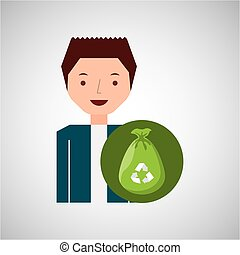 cute boy recycle ecology icon plastic bag trash vector...