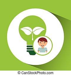 cute boy eco recycle bulb leaf icon